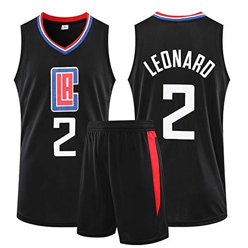 Uniformes De Camiseta De Baloncesto, Los Angeles Clippers #2 Kawhi Leonard Conjunto De Entrenamiento Camiseta De Chaleco De Verano De Competición + Pantalones Cortos,Negro,3XL