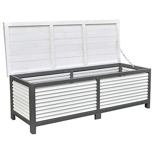 Melko Auflagenbox 46 x 140 x 52 cm Kissenbox Gartenbox mit klappbarem Deckel aus Holz Gartentruhe Holztruhe Auflagentruhe