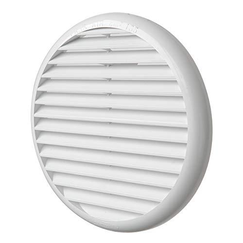 La Ventilazione TU160B Griglia di Ventilazione Tonda universale in Plastica con molle, Bianca, diametro 175 mm