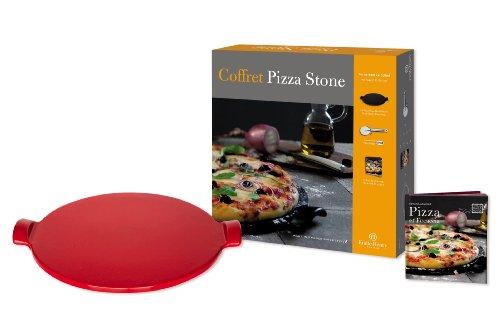 Emile Henry - Geschenkset Pizza-Stein - 3-teilig - Rouge/rot
