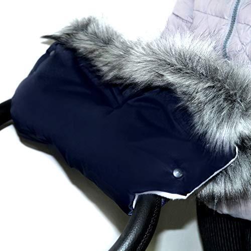 Baby-Joy Muff mit Kunstfell Flauschiger Handwärmer Handschutz Kinderwagenhandschuh Schlittenhandschuh (MF4-2505 | Dunkelblau-Creme)