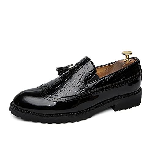 WUQIN Mocasines Zapatos Brogues de Moda para Hombre Costura Multicolor Zapatos Planos de Cuero Suave Zapatos de Barco Ligero Transpirable Oficina Negocios Trabajo Fiesta de Noche,Black-46EU