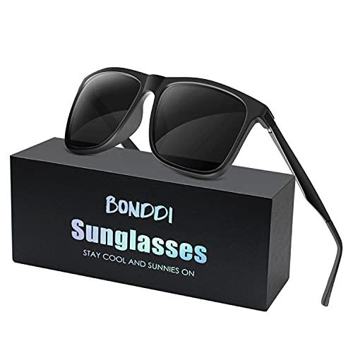 BONDDI Gafas de Sol para Hombre, Gafas de Sol Polarizadas de Conducción con protección UV400 para Hombres y Mujeres (Negro)