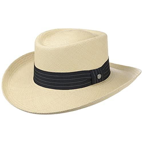 Lierys Sombrero Panamá Gambler Hombre - Made in Ecuador de Panamá Playa con Banda Grosgrain, Grosgrain Primavera/Verano - S (55-56 cm) Natural