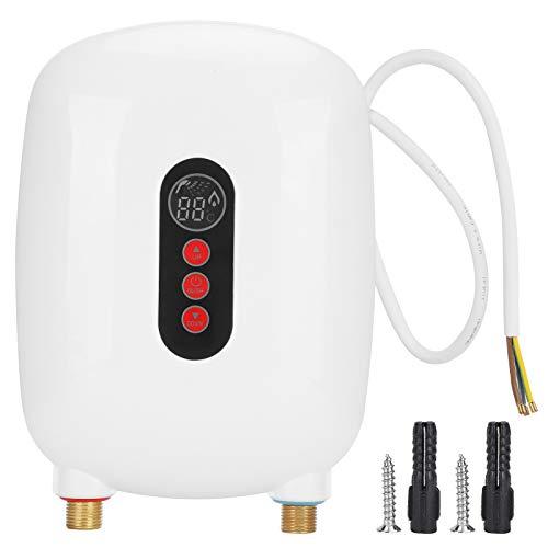Calentador de agua, calentador de agua sin tanque Calentador instantáneo eléctrico de 6500 W para baño y cocina(white)