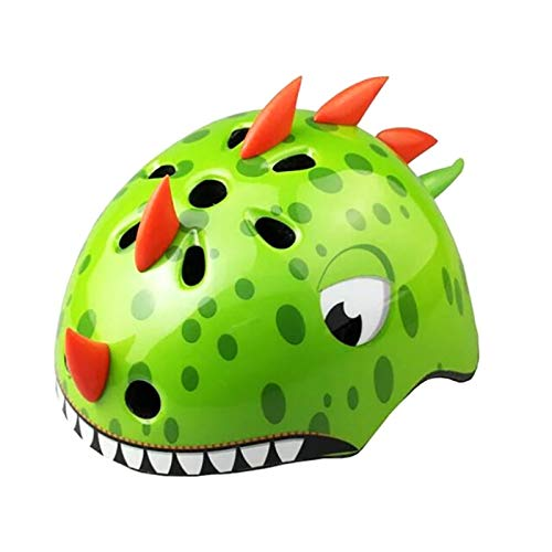 TITST Kids Helmet, Age 2-13 Years Old, Cute Cartoon Animal 3D Dinosaur Helmets, Adjustable Youth Boys Girls Multi-Sport Protection Gear Size19-23' for Cycle Bike Scooter Skating LUOWAN green-S