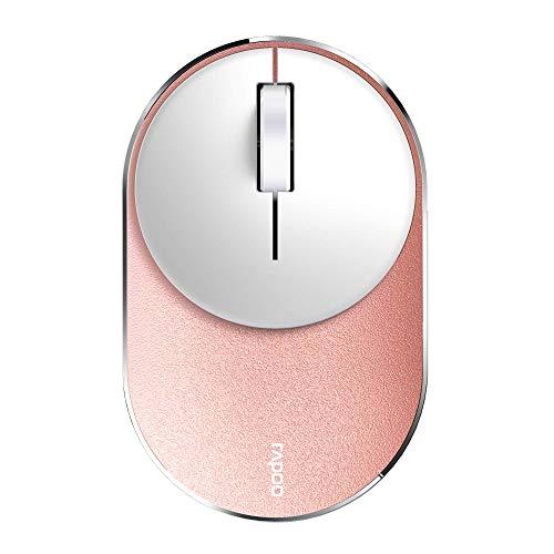 Rapoo M600 Mini Silent kabellose Maus, Bluetooth und Wireless (2.4 GHz) via USB, Multi-Mode, flach, 1300 DPI, rose/gold