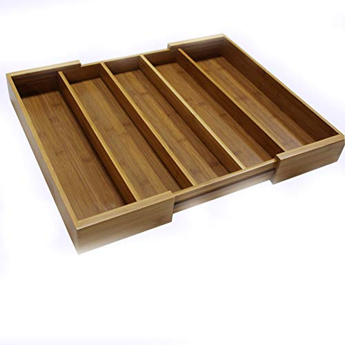 YYDDZ Tief Schreibtisch Schublade veranstalter,Verstellbar Besteck Fach Fach Organizer Organischen Bambus Holz Utensilienablage Schubladeneinteilungen-A 33x45.8x6.4cm(13x18x3)
