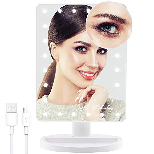 Fabuday Makeup Mirror with Lights and 10X Magnifying Mirror - 24 LED Lighted Make Up Mirror, Lighting Adjustable, Dual Power Supply, Touch Screen Light Up Mirror for Makeup - White
