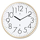 ottostyle.jp 電波掛け時計 掛時計 【白盤/フルインデックス】 木製フレーム プライウッド 見やすいシンプルな文字盤 サイレントムーブ 電波時計
