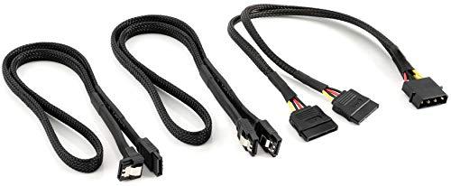 Poppstar Juego de Cable SATA 3 con Adaptador molex a sata, 2X 60cm Cable SATA III Macho, 30cm molex a S-ATA Splitter (4 Pines a 2X sata 15 Pines), Negro
