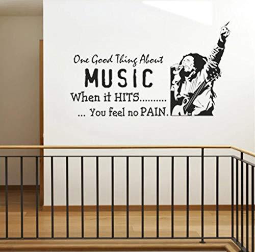 Bob Marley - One Love One Heart - Cita - Vinilo - Adhesivo de pared - Decoración del hogar - Arte - Mural - Desmontable - Adhesivo de pared 58 X 33 CM