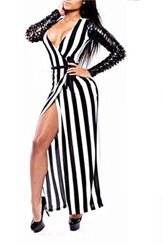 Señoras Blanco y Negro Stipe Bodycon Vestido Largo Club Desgaste Ropa Pole Dancer tamaño 81012