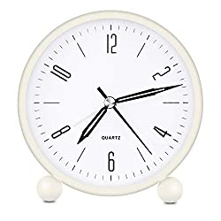 HeQiao Silent Metal Analog Table Alarm Clock with Night Light (Cream White)