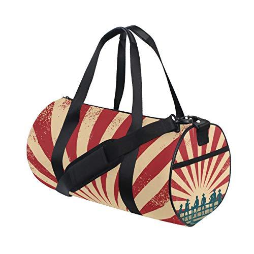 ZOMOY Sporttasche,Schattenbild Cowboys, die auf Zaun sitzen,Neue Druckzylinder Sporttasche Fitness Taschen Reisetasche Gepäck Leinwand Handtasche