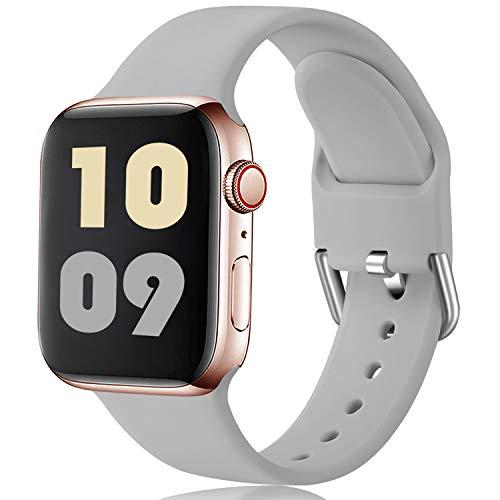 Ouwegaga Compatible con Apple Watch Correa 38mm 42mm 40mm 44mm, Correa de Reemplazo Deportiva de Silicona Suave Compatible con Apple Watch SE/iWatch Series 6/5/4/3/2/1, 38mm/40mm S/M Gris