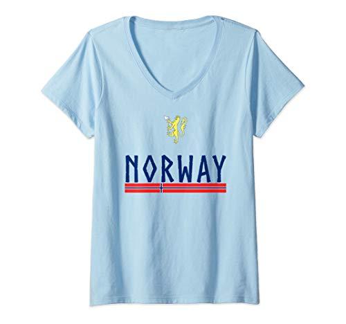 Damen Norwegian Coat Of Arms Shirt Flag Of Norway Football Jersey T-Shirt mit V-Ausschnitt