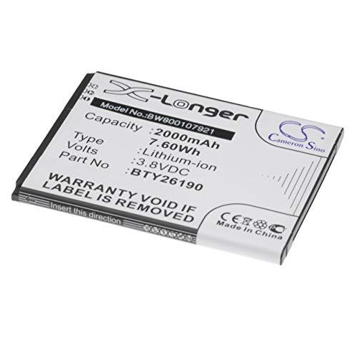 vhbw Li-Ion Akku 2000mAh (3.8V) für Handy Smartphone Telefon Elson Mobistel Cynus F6 wie BTY26188, BTY26188Mobistel/STD.