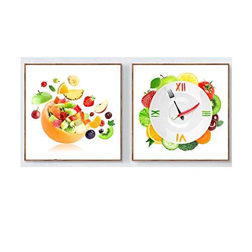 WJWGP Reloj Verduras Poster Fruta Creativa Placa De Tomate Cal Pared Arte Pintura Decoracion Fruta Alimentos Lienzo Impresiones Cocina Pared Decoracion 50x50cmx2 No Marco