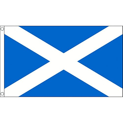 """Ukflagshop 3 Metres 10 (9"""" X 6"""") Flag Scotland Scottish St Andrews Cross Saltire Light Blue 100% Polyester Material Bunting Ideal Party Decoration For Street House Pubs Clubs Schools"""