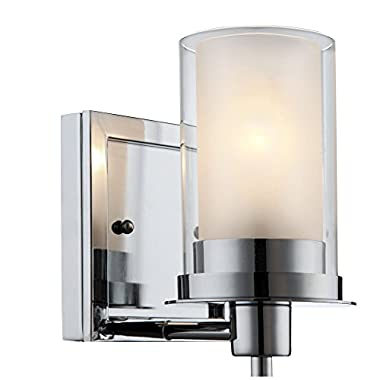 Designers Impressions Juno Polished Chrome 1 Light Wall Sconce / Bathroom Fixture with Clear and Frosted Glass: 73465