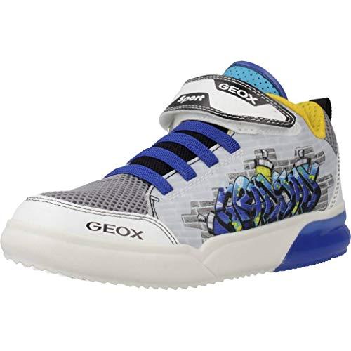 Geox J GRAYJAY Boy D, Baskets Hautes Garçon, Blanc (White/Royal C0293), 31 EU