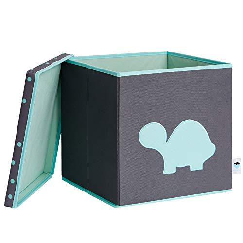 LOVE !T STORE !T Spielzeugkiste mit Deckel, Schildkröte, MDF verstärkt, Polyester, 33 x 33 x 33 cm, 672449, Schildkröte - Grau/ Mint