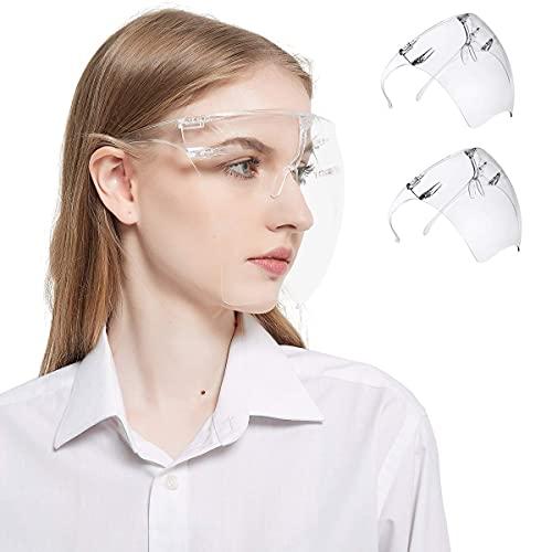 Reutilizables Pantalla Facial Transparente y Antivaho de Seguridad Pantalla Facial Protectora para Hombres y Mujeres para Proteger los Ojos y la Cara Prueba de Viento (2PCS)
