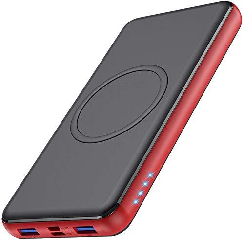 Wireless Powerbank 26800mAh [Rot] - 10W Wireless Charging + 18W PD Fast Charging Feob Externer Akku【2 Schnelles Aufladen Port + Gleichzeitige Aufladen 4 Geräte】Tragbares Ladegerät für Phones, Tablets