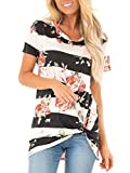 Womens Floral Tops Casual Summer Short Sleeve Tunic Plus Size Clothes Black XXL