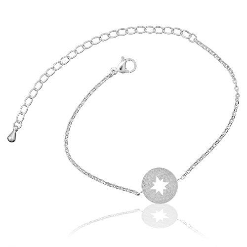 Selia Kompass Armband Windrose Armreif Navi minimalistische Optik brushed gebürstete Optik handgemacht (Silber)