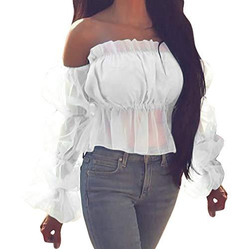 Andouy Damen Mode EIN Wort Kragen Einfarbig Bluse Lässige Mesh Puffärmel Hemd Oberteile(M(36).Weiß)