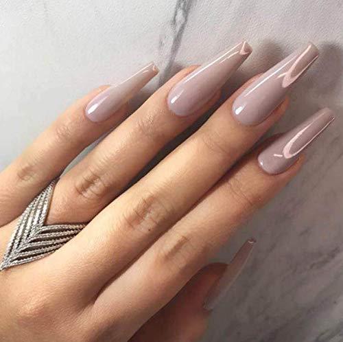 Brishow Lange Künstliche Nägel Ballerina Falsche Nägel Pure Color Acryl Drücken Sie auf die Nägel Full Cover Stick auf die Nägel 24 Stück für Frauen und Mädchen (Nackt)