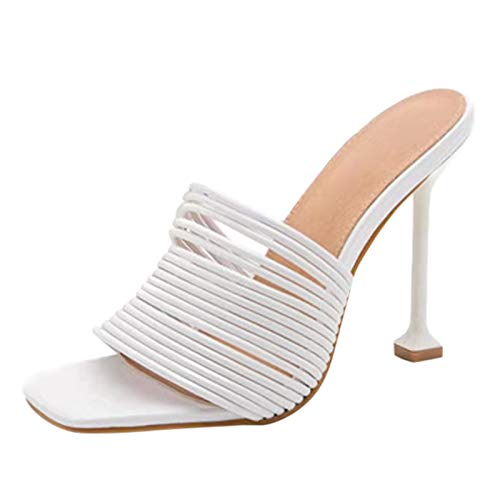 Aniywn Women's Square Open Toe Heeled Sandals Stiletto Heeled Mule Sandals Quilted High Heel Sandals Dress Shoes White