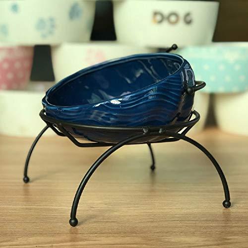 MOLOVET ペットセラミックボウル 給餌ボウル 斜め口ボウル 食べやすい餌台 鉄製スタンド おしゃれ 波状パターン 猫や小型犬に適した (ダークブルー)