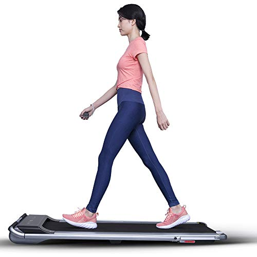 RHYTHM FUN Treadmill Under Desk Treadmill 2-in-1 Folding Running Walking Treadmill with Foldable Handtrail and Speed Sensor Light Slim Mini Quiet Treadmill with Smart Remote Workout App forHome/Office