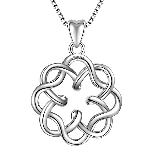 925 Sterling Silver necklace Endless Love Celtic Knot Vintage Pendant necklaces for women, Box Chain 18'