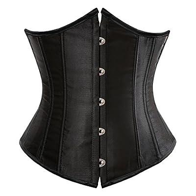 Kranchungel Women's Vintage Satin Underbust Corset Bustier Waist Cincher Bodyshaper 5X-Large Black from