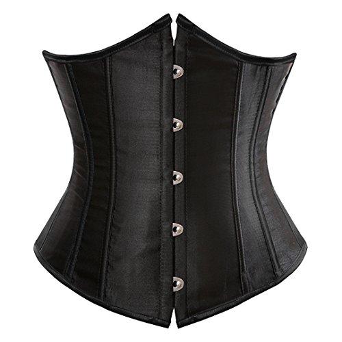 Kranchungel Women's Vintage Satin Underbust Corset Bustier Waist Cincher Bodyshaper Medium Black
