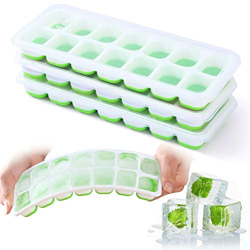 Ice Cube Trays VEHHE 3 Pack Reusable Silicone 14Ice Cube Molds with SpillResistant Removable Lid Flexible and Odorless for Whiskey and Cocktails