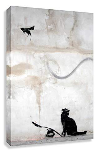 Banksy Katze Wandbilder t Graffiti - Bild 40x30cm Cat n Bat ! Bild fertig auf Keilrahmen ! Pop Art Gemälde Kunstdrucke, Wandbilder, Bilder zur De (30x40cm)