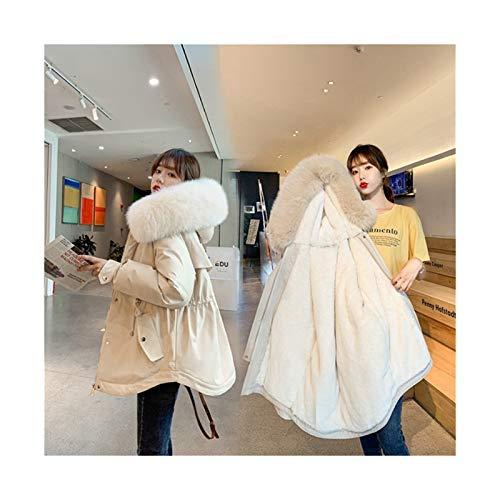 lxwi Veste Chaude et Coupe-Vent ultralégère Automne et Hiver New Down Jacket Grand Collier de Fourrure for Femmes épaissie Chaleur et descendeur Veste All-Match (Color : Ivory, Size : 3)