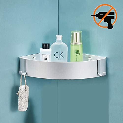 Duschablage, Bogeer Duschregal ohne Bohren mit Haken und Magic Sticker, Multifunktions Dusche Ablage Duschkorb Duschaufbewahrung - Aluminium duschregal eckregal (Einschichtig)