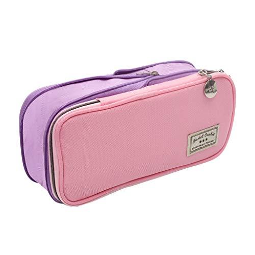 Estuches Bolsa Lápiz La Caja de lápiz de Gran Capacidad Enrejado de la Caja de lápiz de Escritorio expansible Bolsa de Cremallera Doble Multicolor Estuches (Color : Pink Purple)