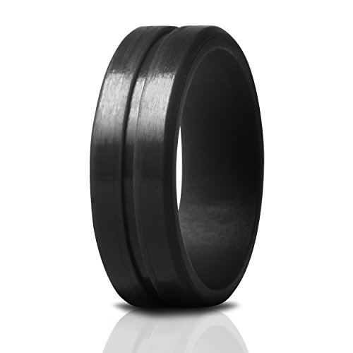 Saco Band Silicone Ring Wedding Bands for Men (Black, 12.5-13 (22.2mm))