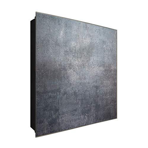 DekoGlas Schlüsselkasten \'Kühles Beton\' 30x30 Glas, inkl. Haken Schlüsselbrett Schlüssel-Box Design Aufbewahrung