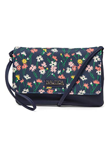 Nautica RFID Crossbody Wallets For Women Anti Theft Travel Purse Wallet On A String Vegan Leather (Ditzy Floral)