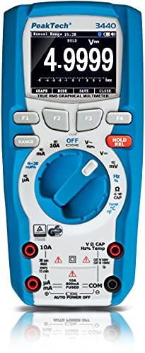 PeakTech 3440 - Multímetro Digital Rms con 4.0 Bluetooth y Pantalla Gráfica, 50000 Cuentas, Portátil Profesional, Tuv / Gs, Rango Automático Medidor de Voltaje, Probador de Continuidad - Cat III 1000V