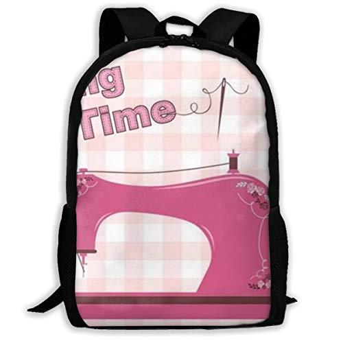 Vintage Pink Sewing Machine Printed Travel Backpack,Lightweight Waterproof Daypack Have Two Side Pockets