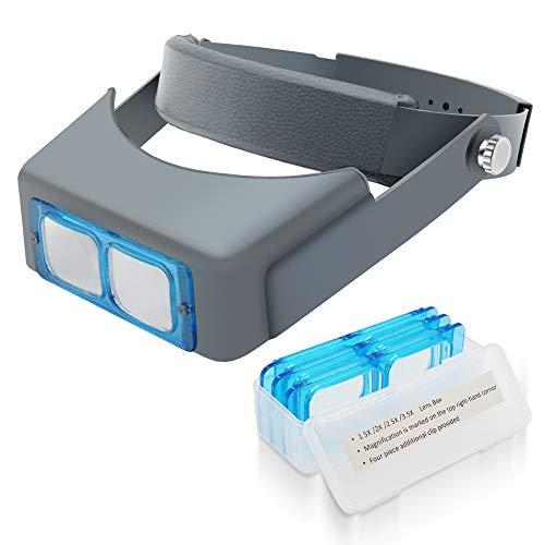 Manfore Stirnlupe Kopflupe/Verstellbares Kopfbandlupe/Stirnband Lupe handfreies/Vergrößerungsglas 4 Vergrößerungen 1.5X 2X 2.5X 3.5X